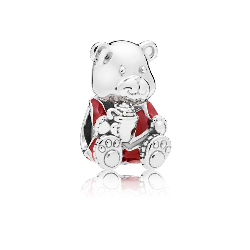 Jewels Obsession 14K White Gold Teddy Bear Cheerleader Pendant 21 mm