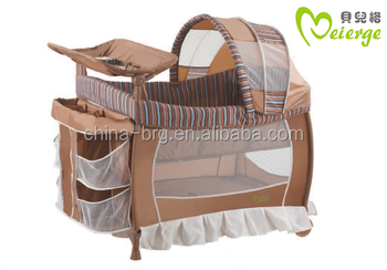 Unfinished Wooden Baby Crib Attached Bed