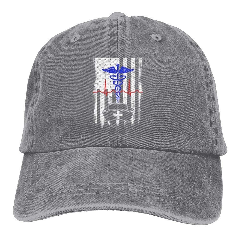 d93b9a233ba Get Quotations · Itry American Flag Nurse Hat Denim Hat Adjustable Unisex  Tactical Baseball Cap