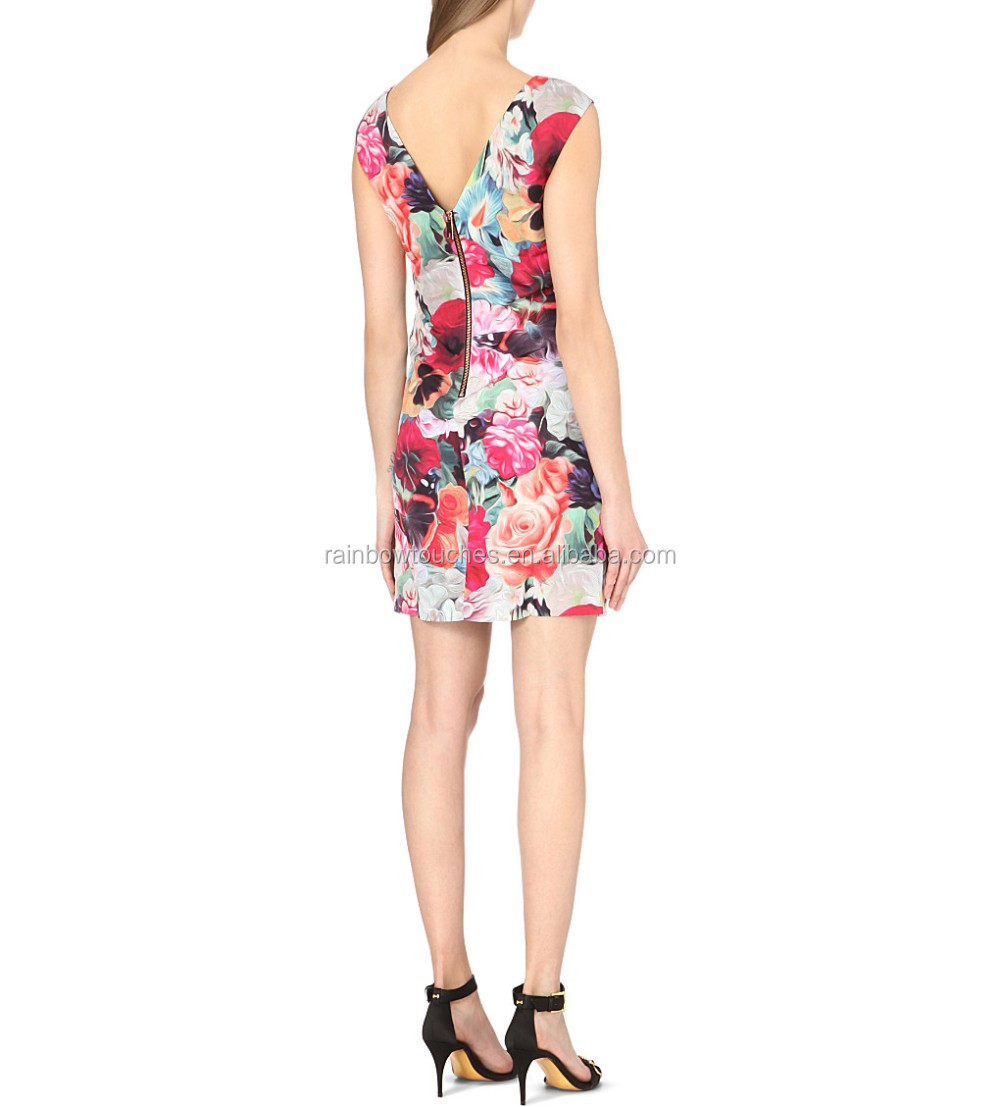 Floral Swirl design printed boat neckline women party dress