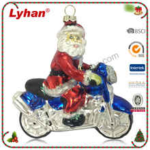 Lyhan resin father Christmas with motorcycle for popular X'mas decoration