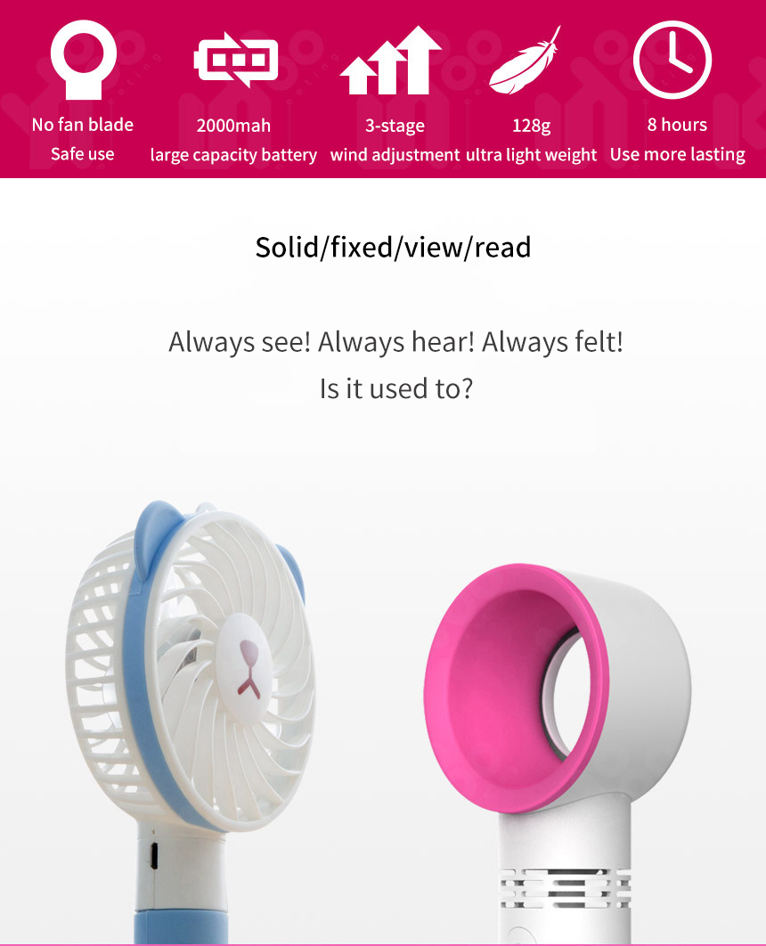 Portable Mini Fan Summer Air Cooling Rechargeable USB Fans Bladeless Fan