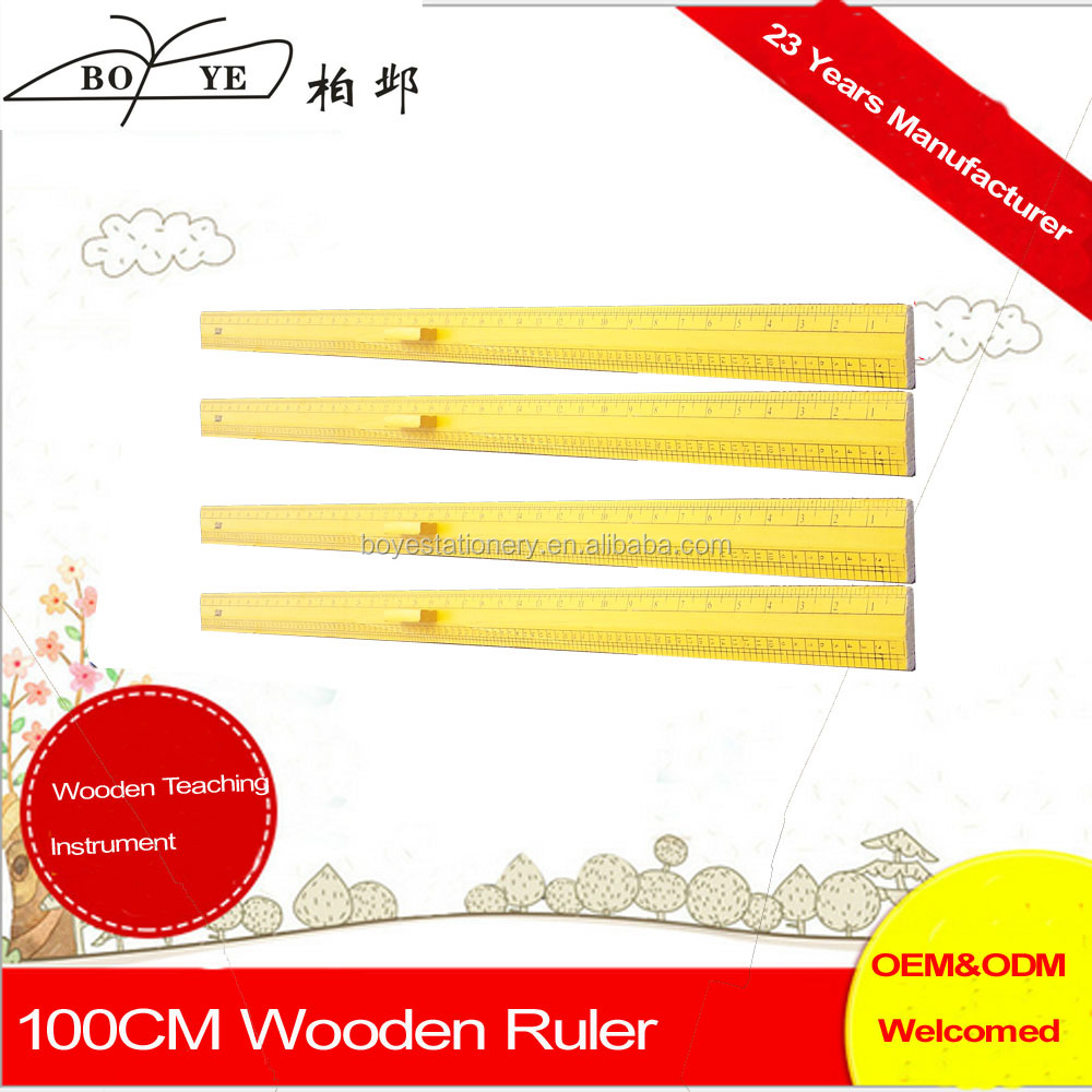 Professional Clear Scale 100CM Custom wooden ruler 1 Meter Ruler with Handle For Teachers