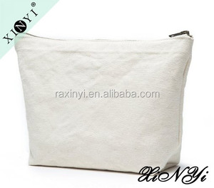 Wholesale promotional small cotton canvas cosmetic pouch custom printed cosmetic bag with zipper