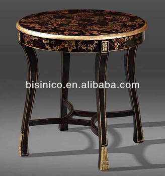 Antique Living Room Blacku0026gold Colour Center Table,Floral Hand Painting  Table,Carved Wooden Home