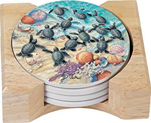 CounterArt Turtle Hatchlings Design Round Absorbent Coasters in Wooden Holder, Set of 4