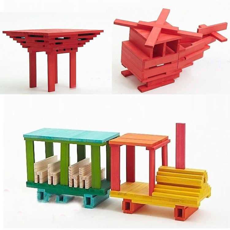 Newest Assembly Play Set DIY Fun Wooden Domino Building Block Toy Kids