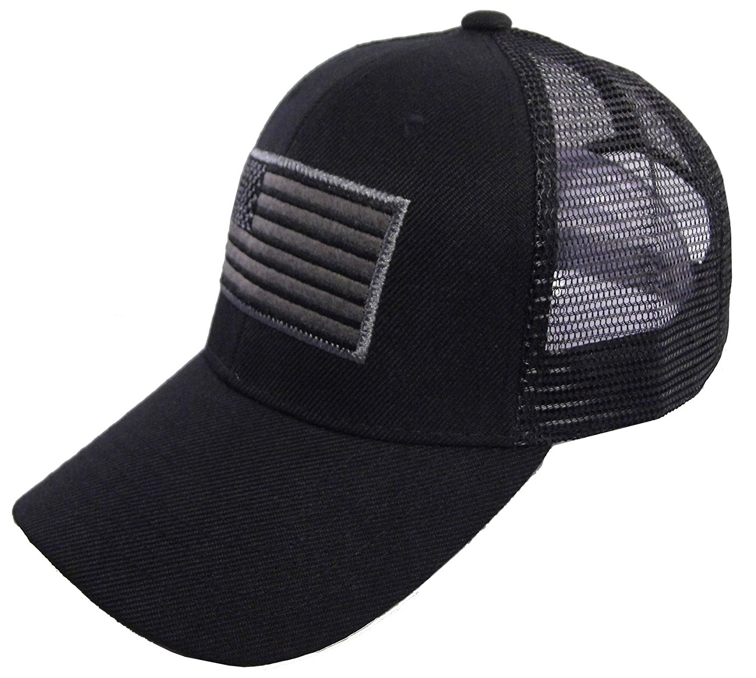 34b1ea6ae47 Get Quotations · US American Flag Patch Tactical Style Mesh Trucker  Baseball Cap Hat