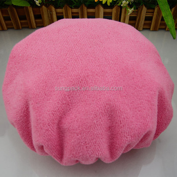 Double Layered Towel Shower Head Caps for Women Hair Steaming Caps Terry  Shower Caps 3c652f151a7