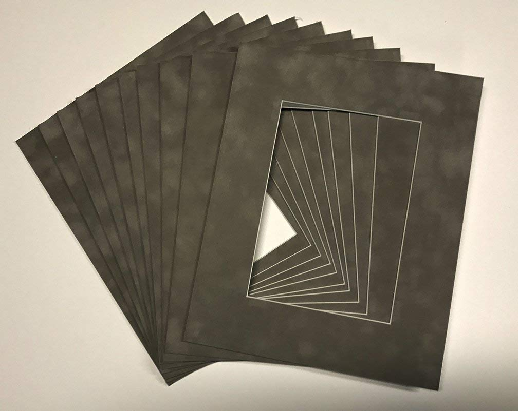 Suede Texture Photo Mat - Charcoal Grey 12x16 for 11x14 Photos - Fits 12x16 Frame