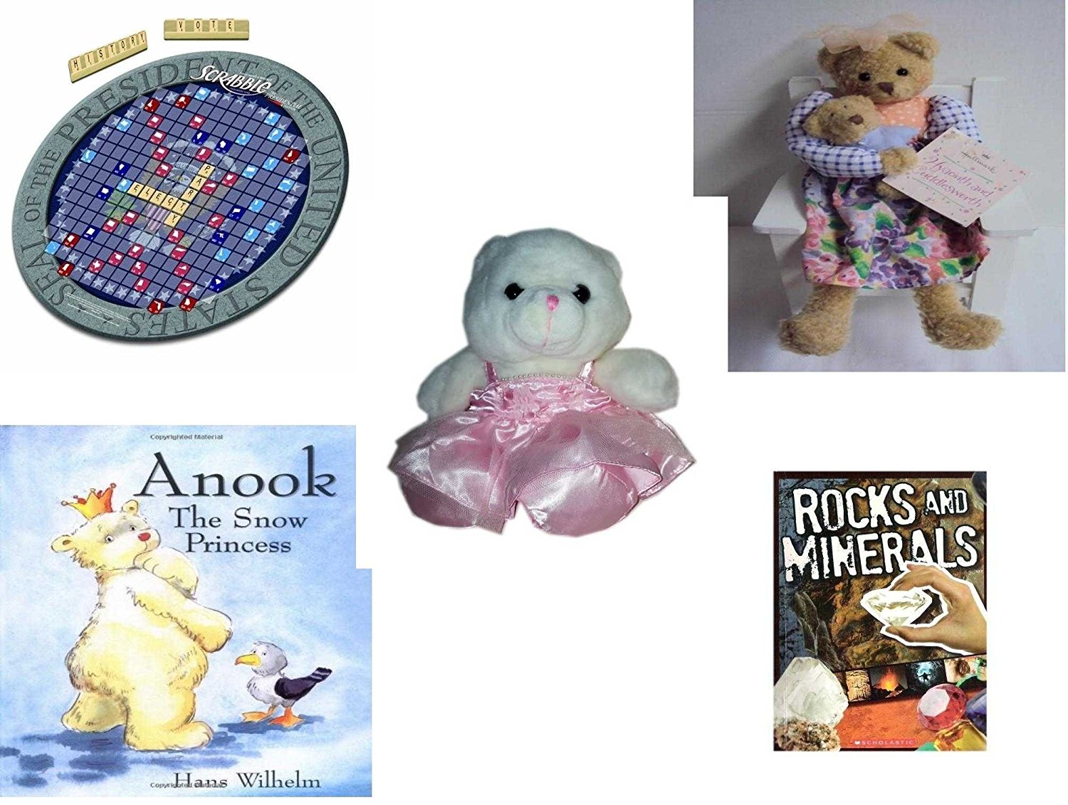 "Girl's Gift Bundle - Ages 6-12 [5 Piece] - Presidential Scrabble Board Game - Hallmark Mom & Baby Bear, Hyacinth and Cuddlesworth 14"" - Build A Bear Ballerina Bear White w/ Pink Tutu 9"" - Anook: The"