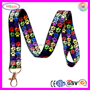 F178 Rainbow Paw Print Ribbon Lanyard Keychain Cat Lanyards