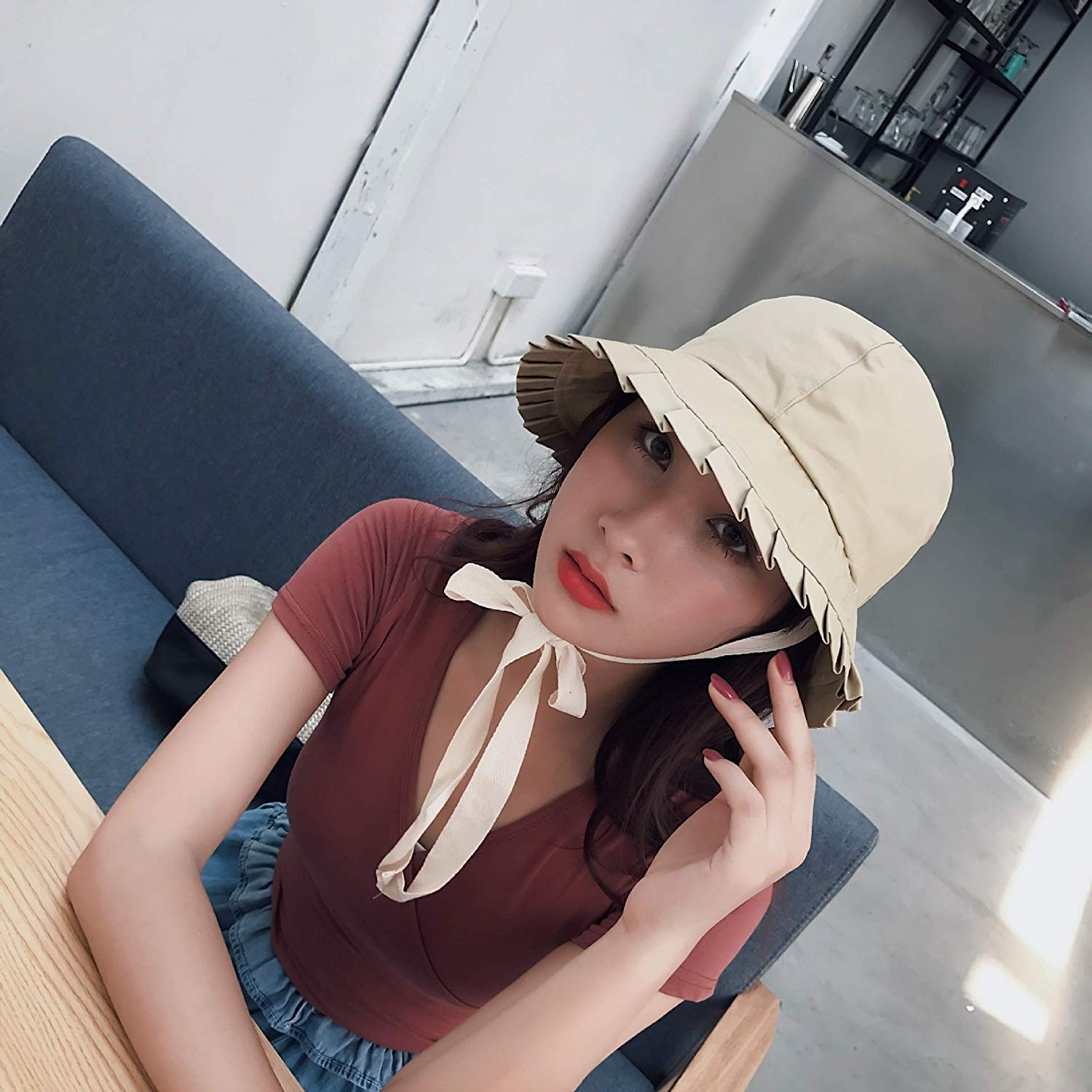 9f1f8fabe6e Get Quotations · Hat Cap Women Girls Spring Summer Solid Color Cute Unique  can be Tied Ribbon Streamers Long