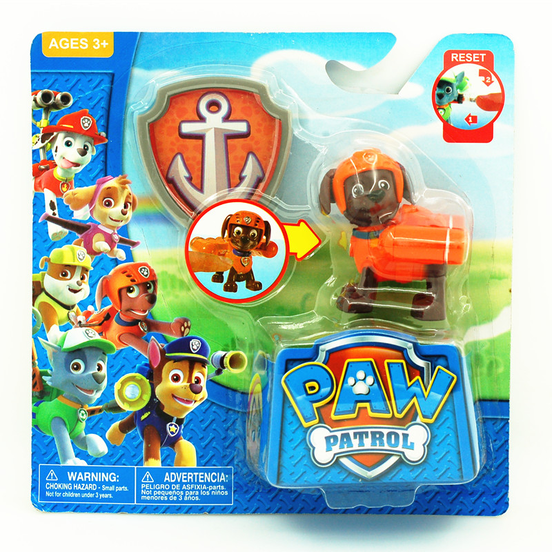 Patrol Anime Action Figures With Shield Juguetes Patrulla Canina Toys Model Kids Toys Gifts 6Pcs/Set