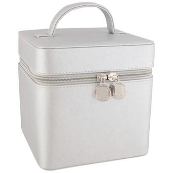 Professional beauty travel silver cubic vanity cases cosmetic case makeup tool box
