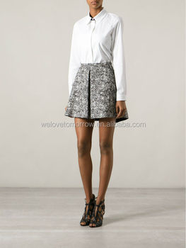 Black and white tweed skirt