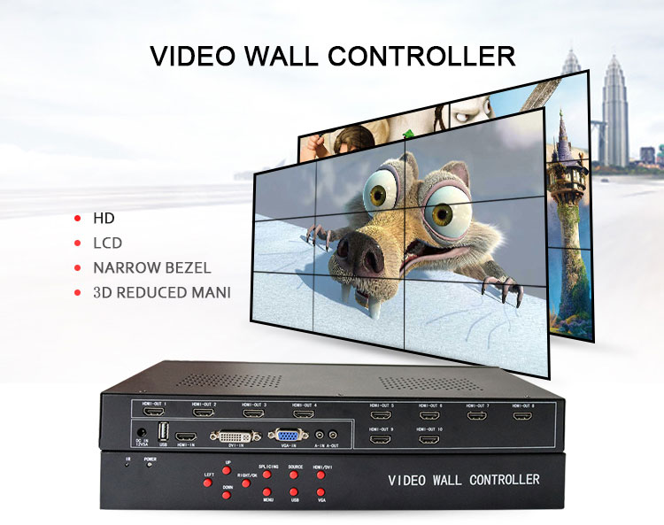 Shenzhen 3*3 HDMI Video Wall Controller Support Wall Screen and Clone Screen  HD resolution 1920*1080P
