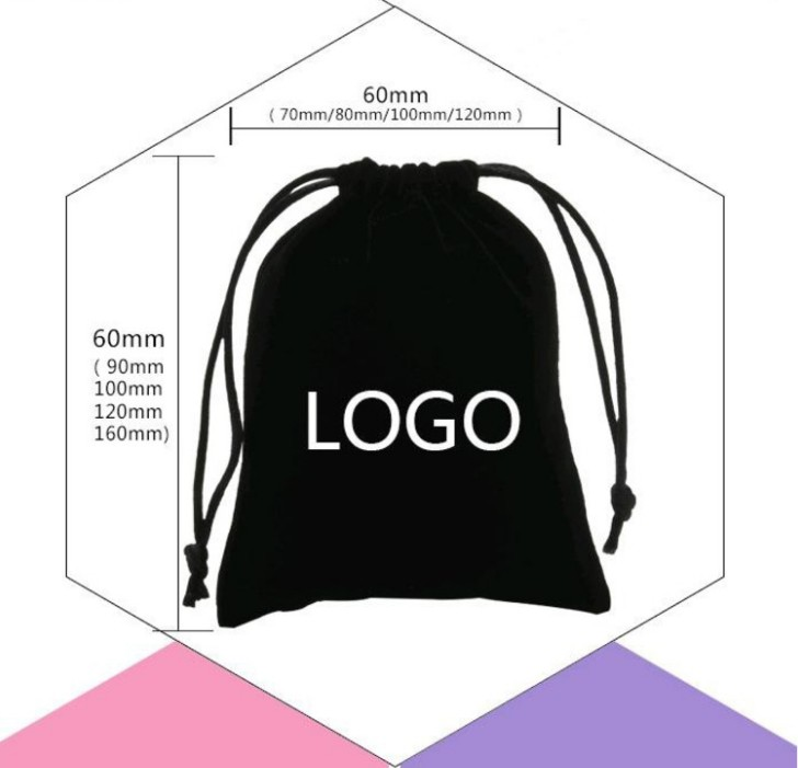 Promotional Drawstring Velvet Bag Custom Logo Printed Drawstring Pouch Packaging Fabric Gift Bags