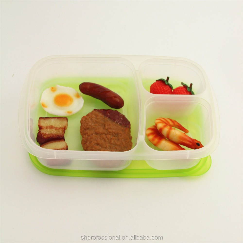 3 compartment bento lunch box food plastic container buy. Black Bedroom Furniture Sets. Home Design Ideas