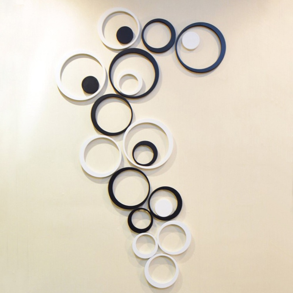 Acrylic 3D Black And White Circles Wall Sticker, Acrylic Wall Sticker  Decoration