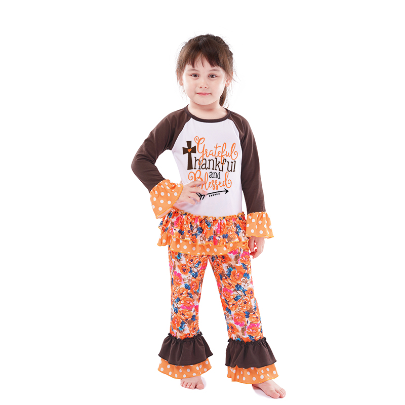 Wholesale New Style Kids Boutique Clothes Sets for Thanksgiving