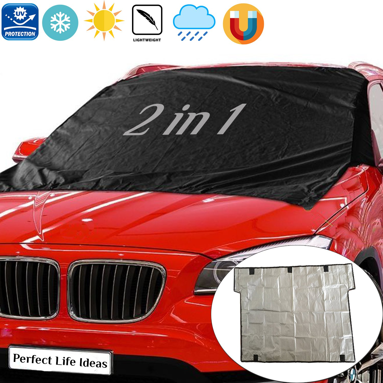 Windshield Ice and Snow Cover – Frost Guard and Ice Screen for Most Vehicle with Magnetic Edges by Perfect Life Ideas