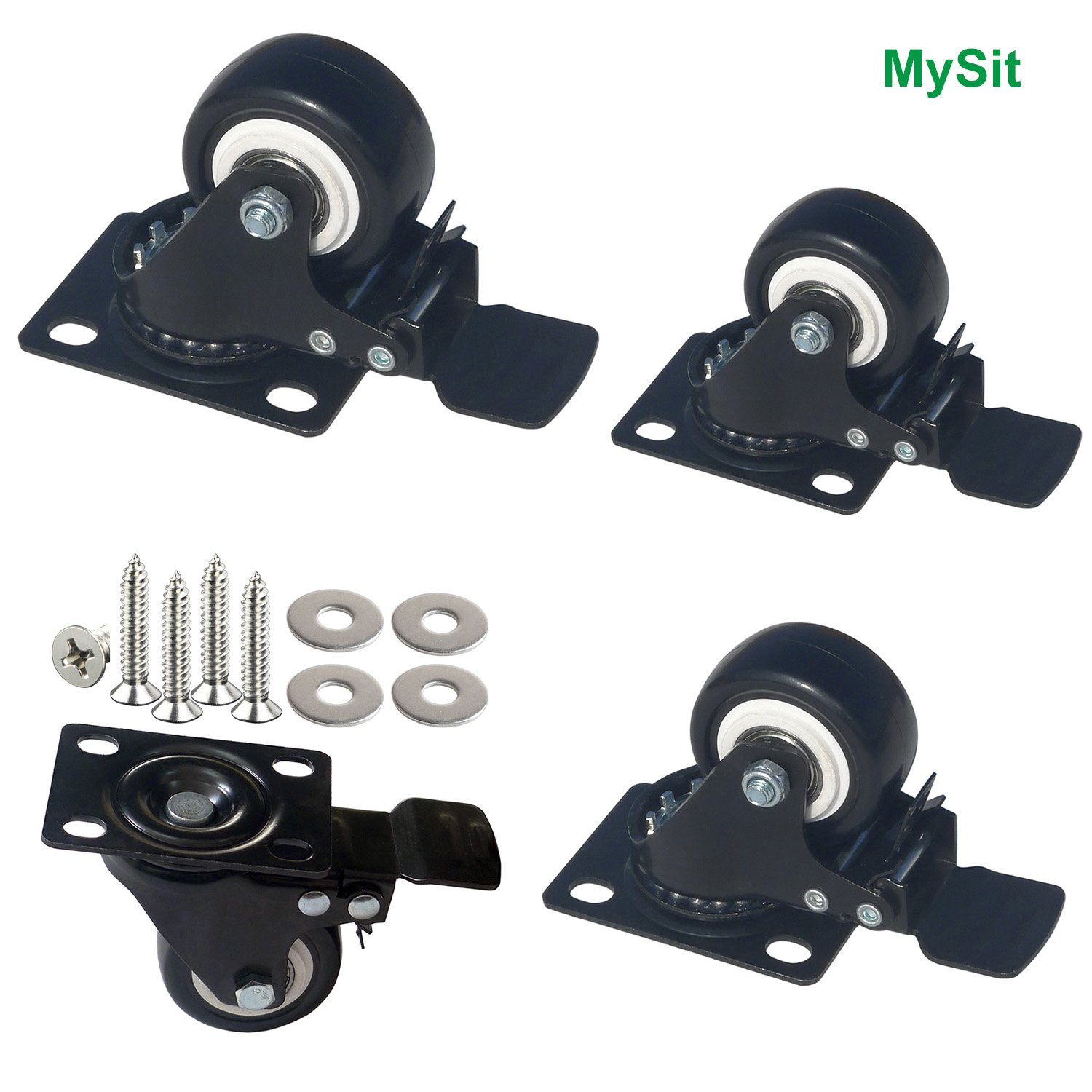 MySit Plate Casters with Brake Lock and Hardwares, 4 Pack 2 Inch Heavy Duty Black Swivel PU Rubber Brake Caster Wheels (Caster_2in_Brake)