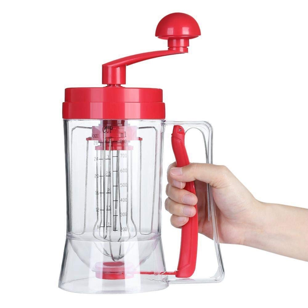 Manual Operated Pancake Mixer, Portable Pancake machine hand-operated Cake Batter Dispenser and Mixing System For Milk, Cake, DIY Separator Cupcake, Crepe Donut, Waffles,Pancakes, Muffins and other