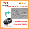 new productABS PLASTIC chrome headlight cover head lamp cover TOYOTA FORTUNER 2015 EXTERIOR CAR ACCESSORIES