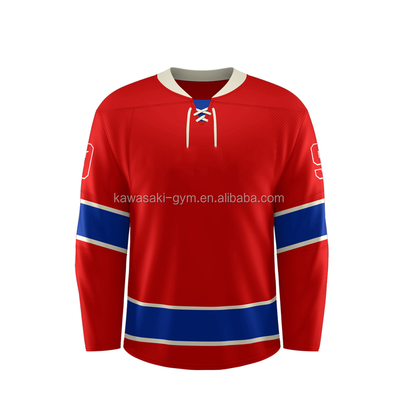 Lace up cheap 100% polyester reversible sublimated custom wholesale ice hockey jersey