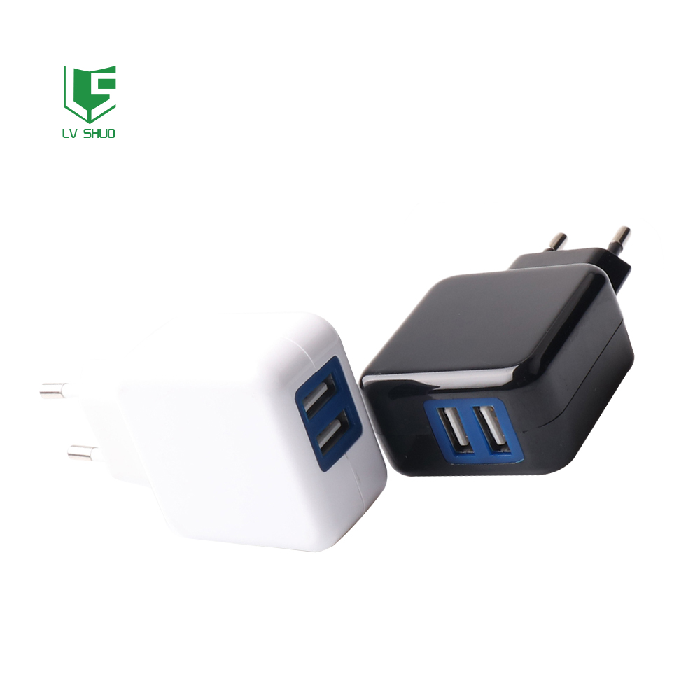 Quick Charge 2.1A EU plug dual usb AC adapter for cell phone wall charger