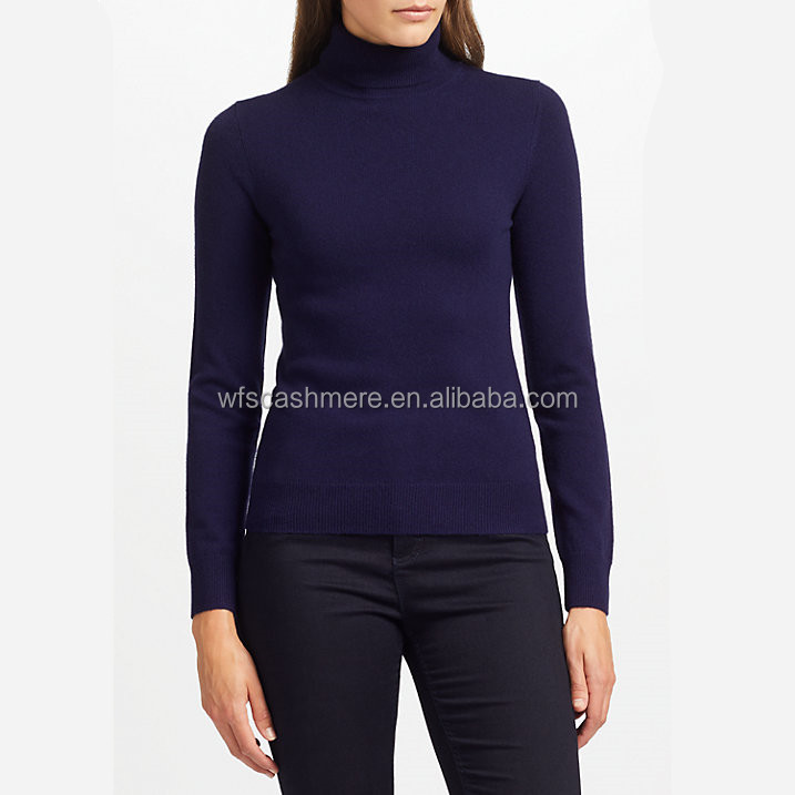 casual high turtle collar knitted sweater 100% pure cashmir pullover for women