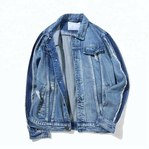 Royal wolf denim jacket manufacturer blue vintage wash long selvedge 1 frayed sleeves denim mens track jacket