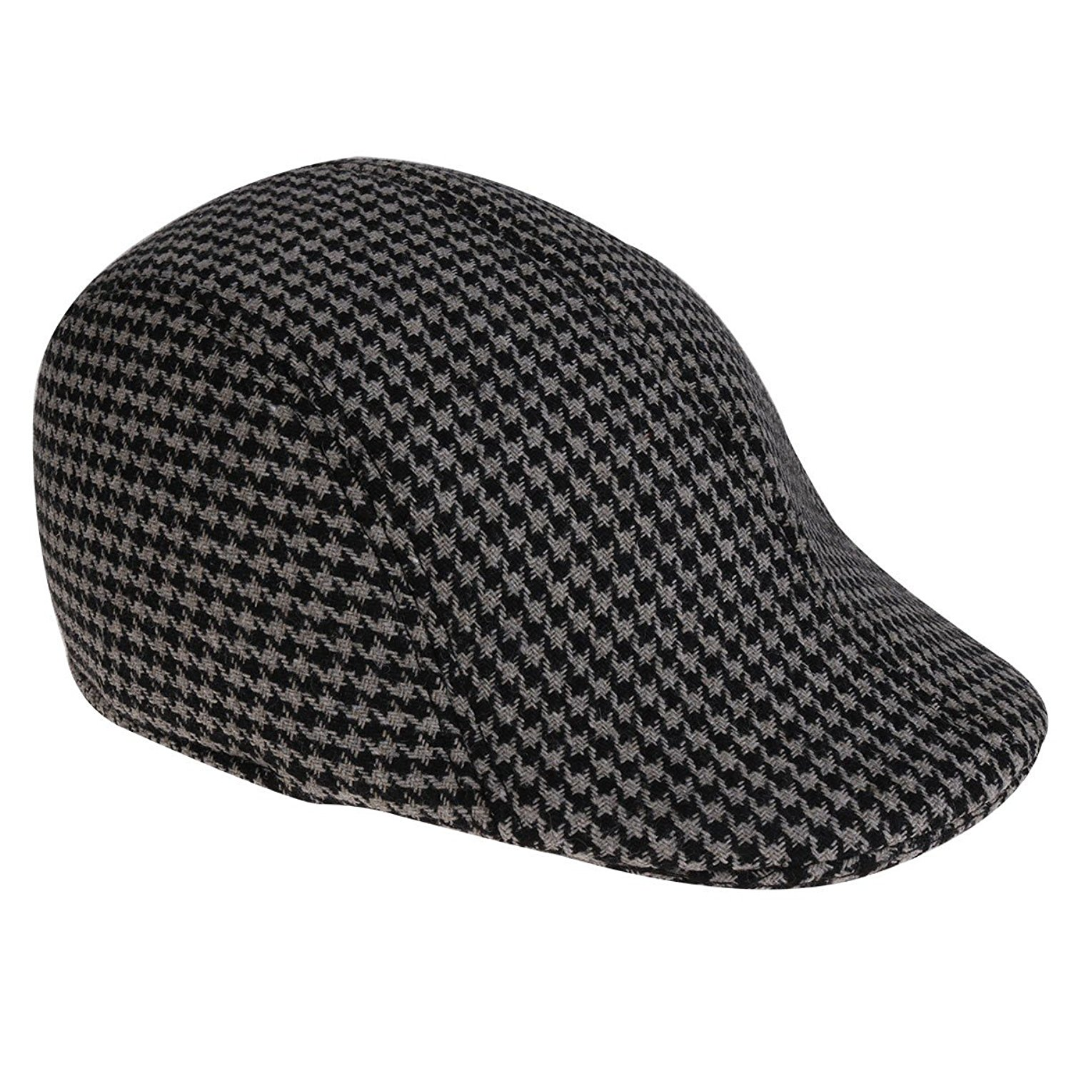 Get Quotations · TiaoBug Men s Cotton Houndstooth Pattern IVY Gatsby  newsboy Flat Cap Hunting Cabbie Hats 833909311061