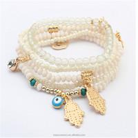 TBC6907-35 2017 Lucky Kabbalah Fatima Hamsa Hand Blue Evil Eye Charms Bangles Multilayer Beads Turkish Pulseras bracelet