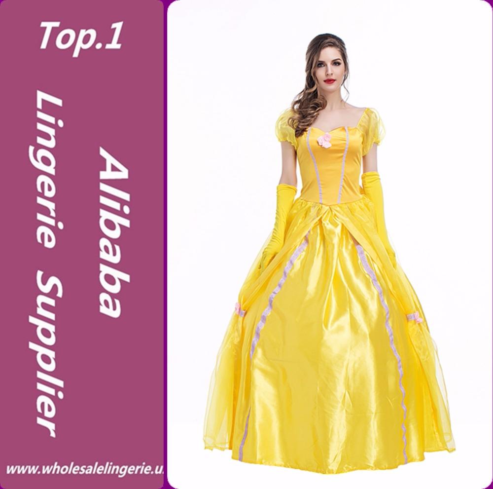 Beauty And The Beast Halloween Princess Belle Cosplay Satin Dress