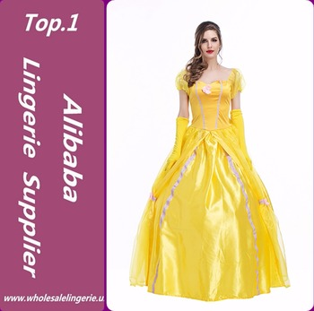 beauty and the beast halloween princess belle cosplay satin dress adult