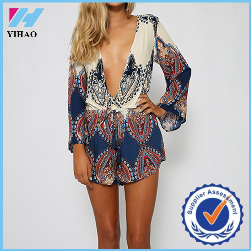Yihao Women Sexy Clubwear V Neck Playsuit Party Jumpsuit&Romper Trousers New Lady Design Long Sleeve Rompers Jumpsuits