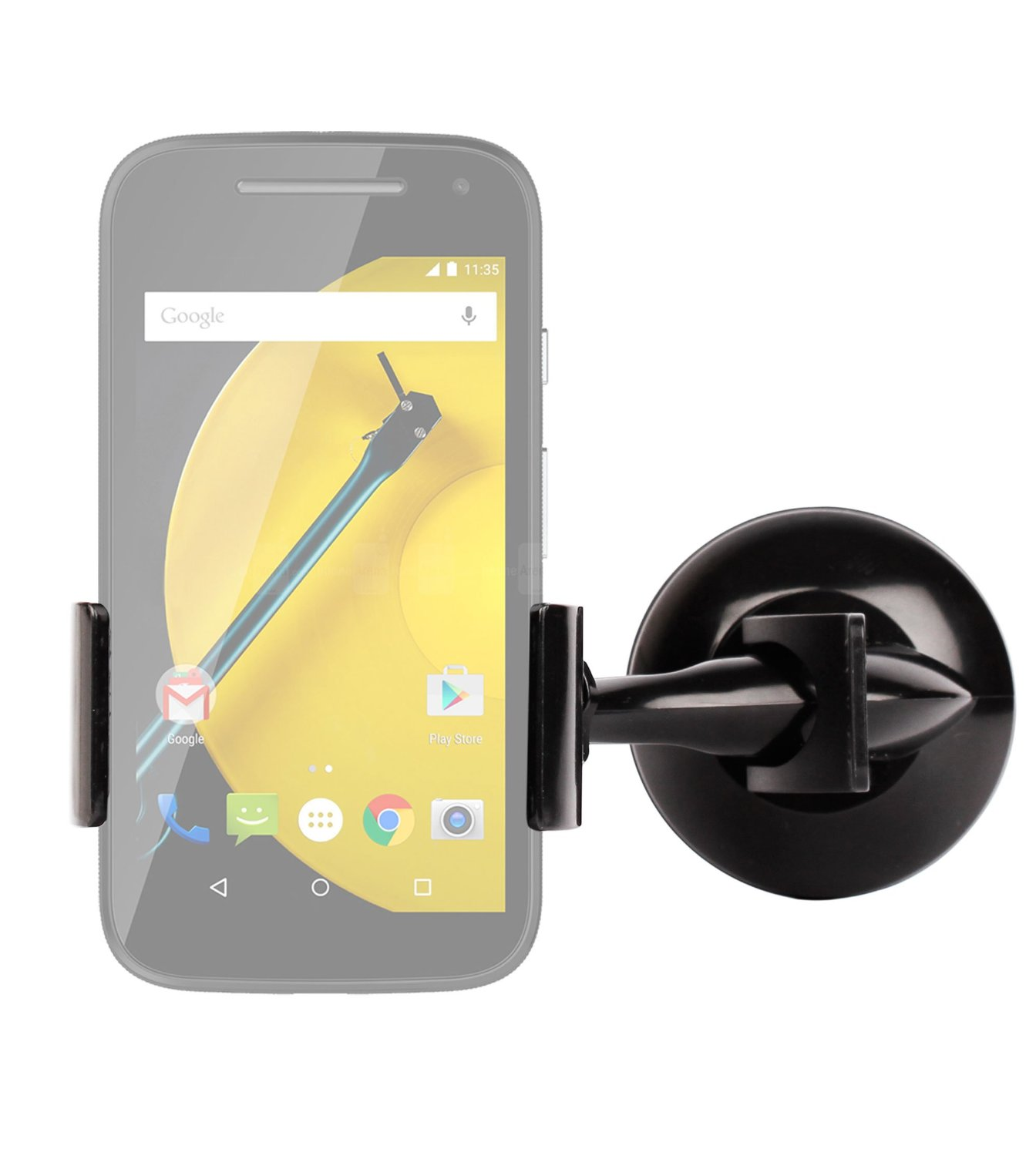 DURAGADGET Ultra-Modern Anti-Shake In-Car Rotating Smartphone Holder with Suction Cup Mount for Motorola Moto E, NEW Motorola Moto X 2014 (Moto X+1) & Motorola Moto E (2015)