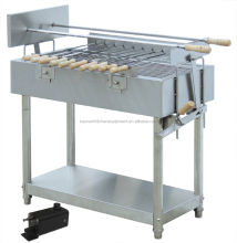 Stainless Steel Commercial BBQ Rotisserie Spit, Charcoal BBQ Grills With Skewers Mechanism and Under Shelf
