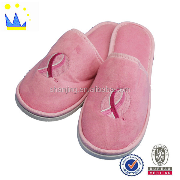 factory direct high-grade pink embroidered logo hotel slippers guest non--disposable slippers hotel slippers