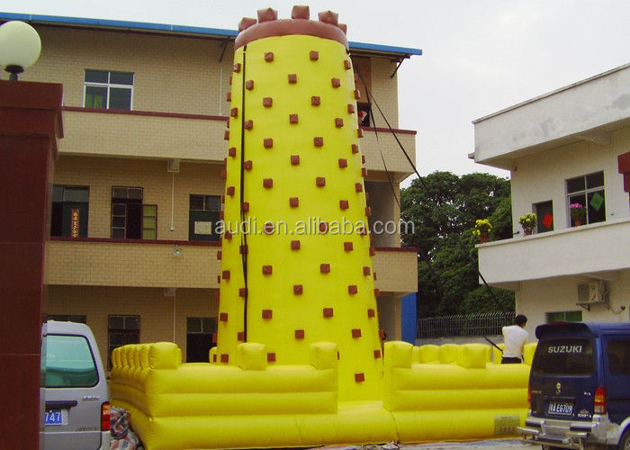 Yellow Tall Inflatable Sports Games / Inflatable Climbing Wall For Fun