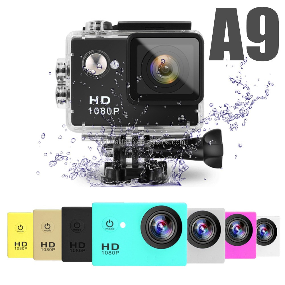 Cheapest A9 sport cam Waterproof Underwater 30 Diving 12MP Lens 1080p Full HD digital camera