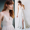 V neck Wedding lace bridal gown dress
