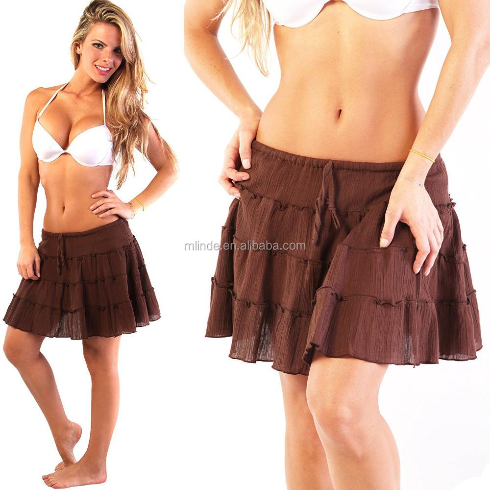 819aeb204 2018 OEM falda casual algodón verano beachwear minifalda cover up 100%  algodón traje de baño cover up encargo al por mayor playa