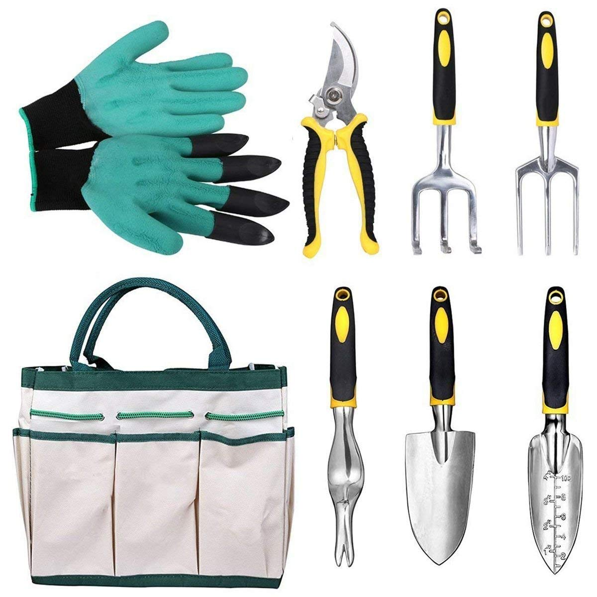 SODIAL 8 Pieces Aluminum Gardening Tools Garden Kit Hand Tools with Ergonomic Handles included Transplanter Trowel Pruner Rake Cultivator Garden Genie Gloves and Canvas Tote
