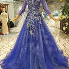 LS921450 lace beaded bodice sweetheart ball gown lace blue organza back elegant lace mother of the bride evening dress