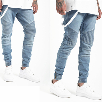 OEM Personnalisé Motard denim jogger pantalon de lavage bleu homme denim  motard joggeurs jeans pantalon jogger 135551d2e3e2b