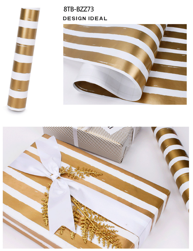 High Quality Gold Print Gift Wrapping Paper for Birthday Holiday Wedding Gift Wrap