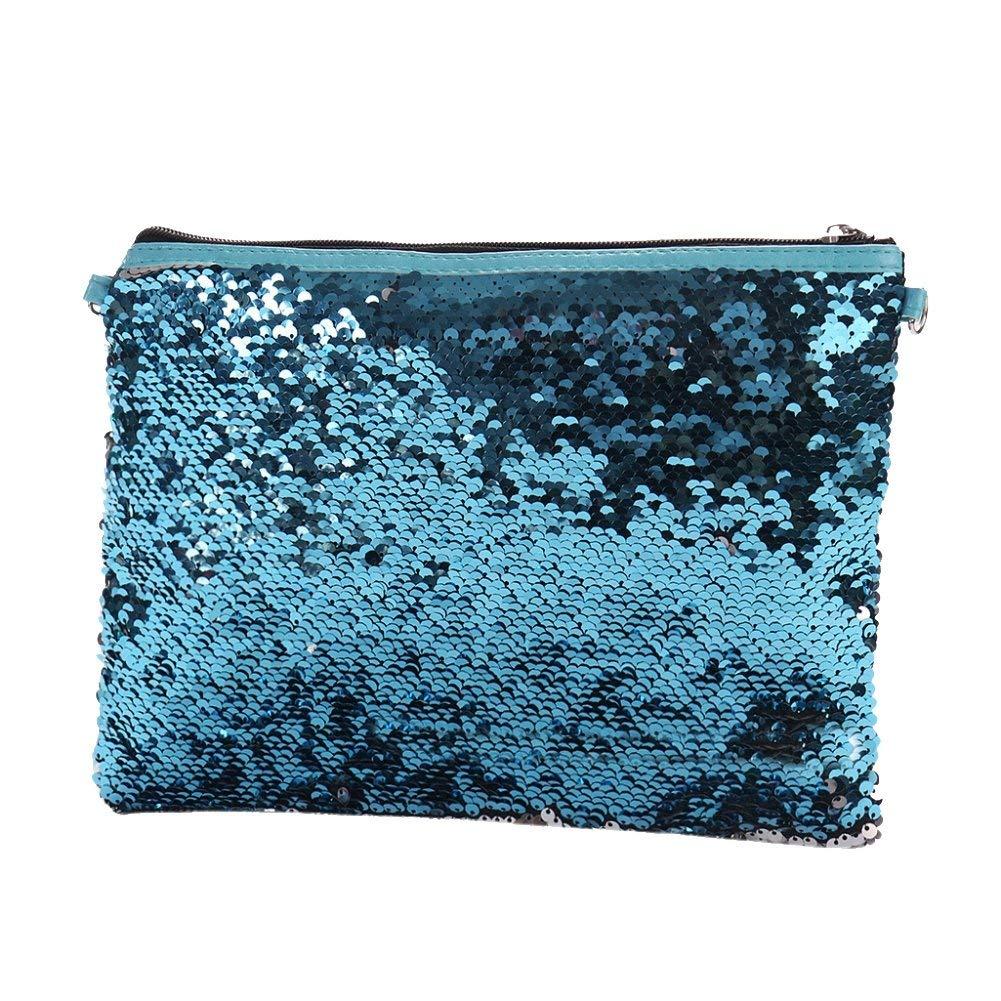 243d9a9616b Get Quotations · bjduck99 Lady Fashion Glitter Reversible Sequins Clutch  Slim Strap Crossbody Shoulder Bag - Silver + Blue